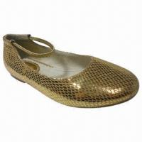 China Gold Perfect Beautiful Children's Dress Shoe, Metallic Leather Upper/Pig Leather Lining Sock/TPR on sale