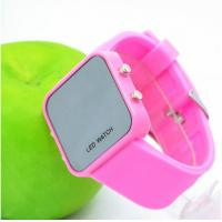 Popular Ladies Watch Silicone Wristband Watch , Red Silicon Led Watch Manufactures
