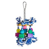 bird kabob toys with acrylic pan and wooden beads on cotton ropes for lovebirds Manufactures