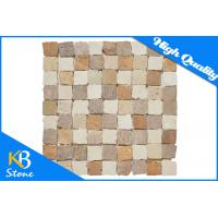 Square Pattern Polished  Travertine Mosaic Mixed Colour Home Flooring Tile / Wall Decoration Tiles Manufactures