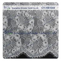 Big Bridal Eyelash Chantilly Lace Trim / Scalloped Lace Fabric Manufactures
