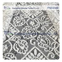 150CM Cotton Nylon Polyester  Lace Fabric Rhombic Floral Black Cord Manufactures