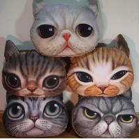 Cat head cushion,plush cat face cushion,custom animal pattern pirnted cushion Manufactures