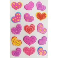 China Personalized Heart Shaped Stickers Red Pink Foam Nontoxic on sale