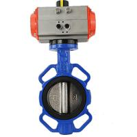 pneumatic Dn 50 multi-position handle wafer types butterfly cast iron valve
