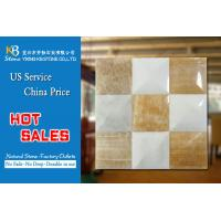 Interior wall decor natural stone marble mosaic tiles yellow and white Manufactures