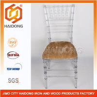 Durable Stackable PC Resin Ice Chiavari Chair with Velvet Pad for Wedding Manufactures