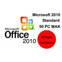 Standard Microsoft Office 2010 Key Code 50 PC Retail Online Activation Word Manufactures