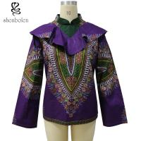 Spring / Autumn Women African Print Tops Jackets Purple Color Dashiki Fabric Manufactures