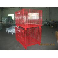 Epoxy Powder Coating Painting Red Wire Mesh Container Heavy Weight 2000lbs Loaded Manufactures