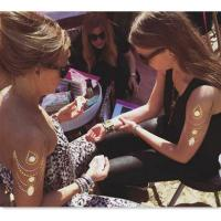 Promotion Metallic Silver Temporary Tattoos For Women Body Art Manufactures