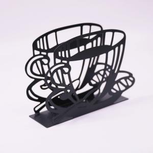 China Dinner Metal Napkin Holder Black Coffee Shape Paper Napkin Holder 15 X 4 X 10cm on sale