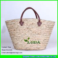 China LUDA new designer palm leaf oversized beach totes seagrass straw bags on sale