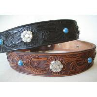 Genuine leather Dog collar 5 color Bones GCDC-019 Manufactures