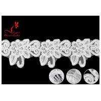 French Corded Nylon Wedding Lace Trim / Customized Embroidery Floral White Lace Ribbon Manufactures