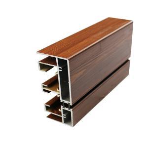 20 X 80 Aluminum Glass Frame Extrusion , Wood Finish Aluminum Door Frames Manufactures