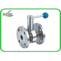 China High Performance Hygienic Butterfly Valves , Flanged Butterfly Valve Pull Rod Handle on sale