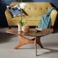 Triangle Base Wood Top Coffee Table Middle Century Style In Natural Wood Tones Manufactures