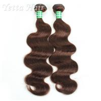 Dark Brown Real Body Wave Human Hair Weave , Natural Remy Curly Hair Extensions