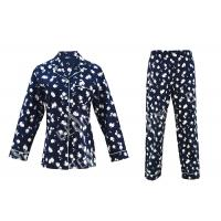 China 100% Cotton Flannel Womens Button Up Pajama Sets With Piping And Long Pants on sale