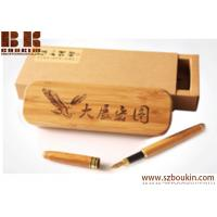 Large-capacity wooden pencil case  polished by hand custom engraving printing logo advertising promotional gift