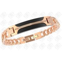 Two Tones Stainless Steel Bracelets With Diamonds 10mm Width Manufactures