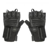 black goat skin and polyester fiber of electric function 8 hours stand-by police electric half-finger gloves Manufactures