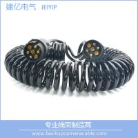 High Quality Black 7 Pin Spiral Cable Extension Trailer electric coil Cable Manufactures