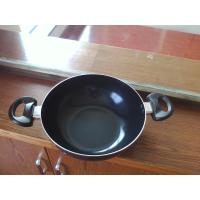 28cm Induction Bottom Nonstick Wok Pan With Lid , Two Ears