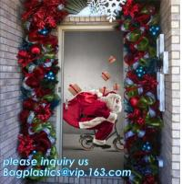 Quality indoor & outdoor door poster PE plastic window cover for halloween christmas decoration,Door Poster Christmas Gift Decor for sale