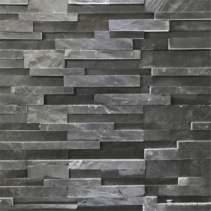 Black Slate 3D Ledge Stone Panel, China Stacked Wall Stone Cladding Manufactures
