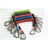 China Heavy Weight Plastic Coil Lanyard , Coiled Tool Lanyard With Double 316 Stainless Steel Clips on sale