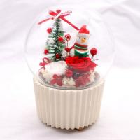China Crystal Ball Preserved Rose Glass Dome Round Music Box For Wedding Gift on sale