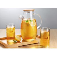 Microwave Safe Glass Carafe Pitcher For Juice Liquid ISO9001 Approved Manufactures