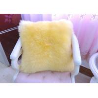 Yellow Sheepskin Floor Cushion With Zipper , Lambswool Seat Soft Fuzzy Pillows  Manufactures