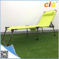 Adjustable Sling Tanning Bed Outdoor Furnitures With Side Bag , Comfortable Folding Day Bed Manufactures