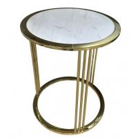 China Brass / Gold Glass Living Room Coffee Table Decoration For Hotel Bedroom on sale