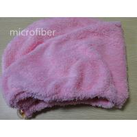 Colorful microfiber woman coral fleece hair dry cap turban ultra-absorbent crystal button Manufactures