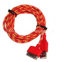Red Color 30 Pin To USB Sync And Charge Cable Covered with Nylon , Two Sided
