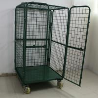 China Green Powder Coating 2 Door Steel Roll Storage Trolley With Lid / Middle Shelf on sale