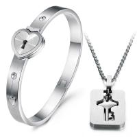 Tagor Jewellery Super Quality 316L Stainless Steel couple Bracelet Bangle TYGB063 Manufactures