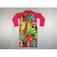 Tropical Colorful Childs Uv Swimsuit High Neck Back Zip Long Raglan Sleeve Extra Leg Manufactures