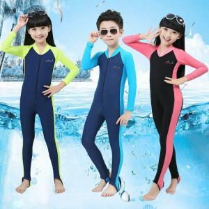 China one piece kids swimming suits swimming costumes front zipper UPF50+ Children full body swimwear Snorkeling on sale