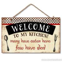 Wooden wall hanging signs Wood plaque sign WELCOME TO KITCHEN Manufactures