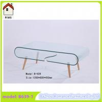 large hot bending glass coffee table wood legs coffee table center table B639-1 Manufactures