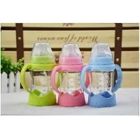 China 280ml Borosilicate Breast Like Feeding Bottle , Baby Glass Water Bottle Food Grade for sale