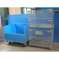 China Galvanised Foldable Pallet Wire Storage Cages Containers , Security Cages For Storage for sale