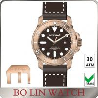 China Super Luminous Bronze Automatic Watch , Italy Leather Bronze Diver Watch on sale