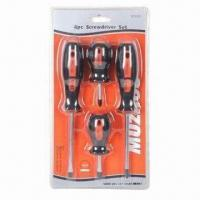 4-piece Screwdriver Set with Magnetic Hardened Tip and Chrome Vanadium Steel Shot Finished Shank