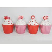 Beautiful Ceramic Kitchen Canisters Hand Painted Cupcake Trinket Box Hearts Design Manufactures